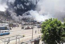 """Photo of الدفع بـ 12 سيارة لـ إطفاء حريق بسوق توشكى في حلون """"صور"""""""