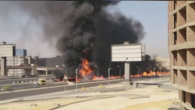 Photo of تفحم 6 سيارات في حادث الطريق الدائري